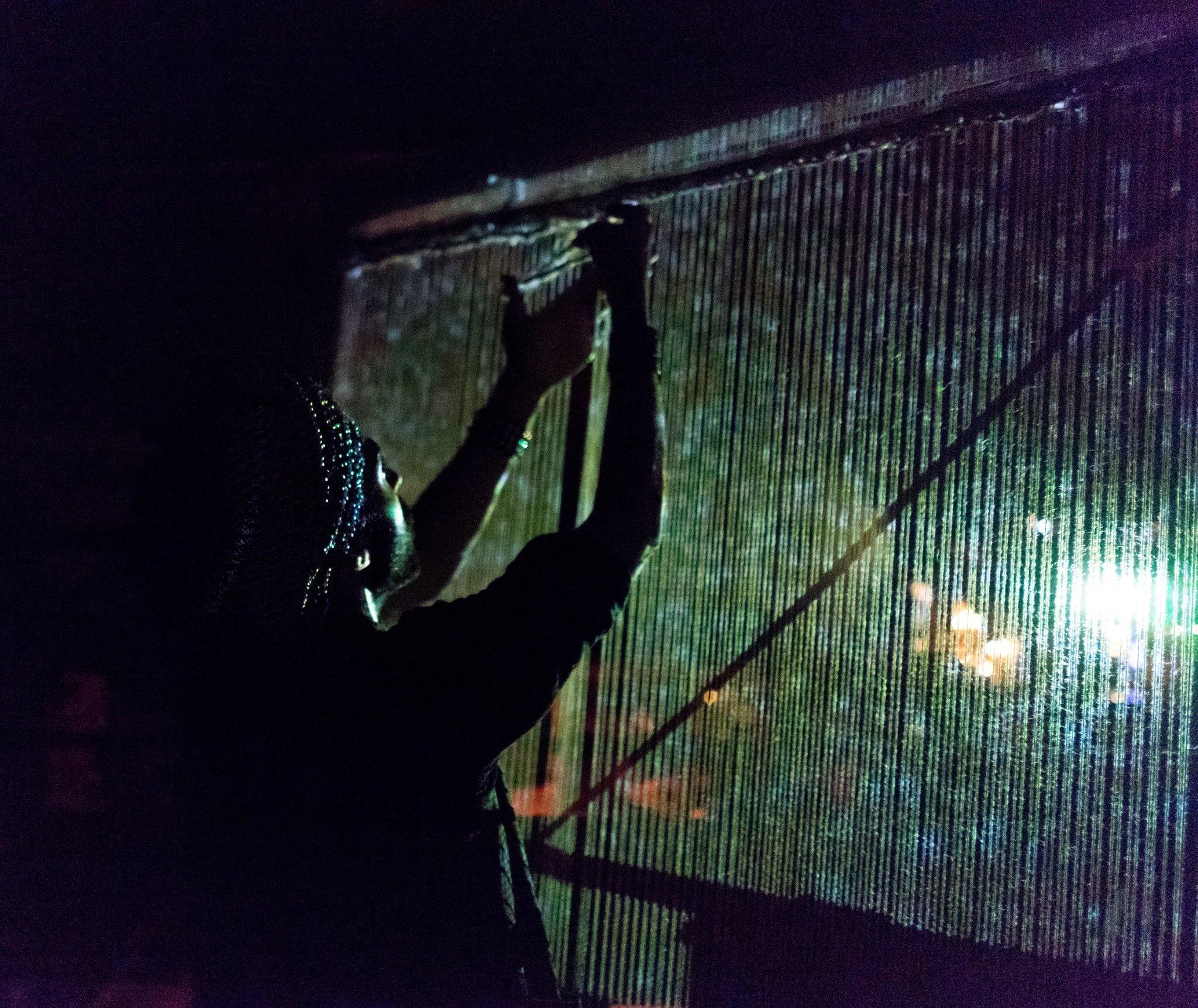 Nightweaving, 2017, Performance at Planck in Detroit, Michigan.  Photo Credit: Bruno Vanzieleghem