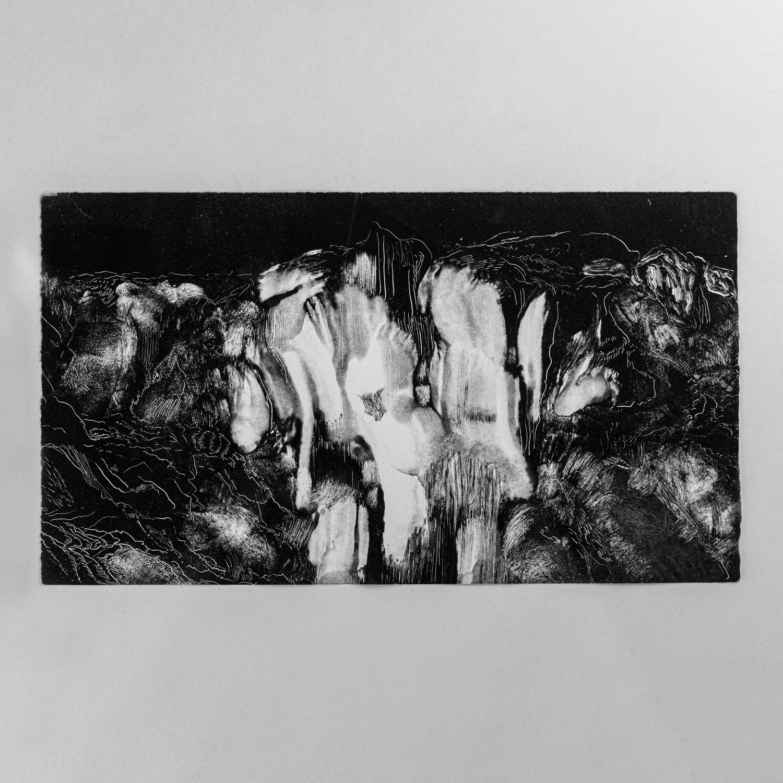 Cataract VIII, 2021, Monotype, 5.19 x 5.35 cm