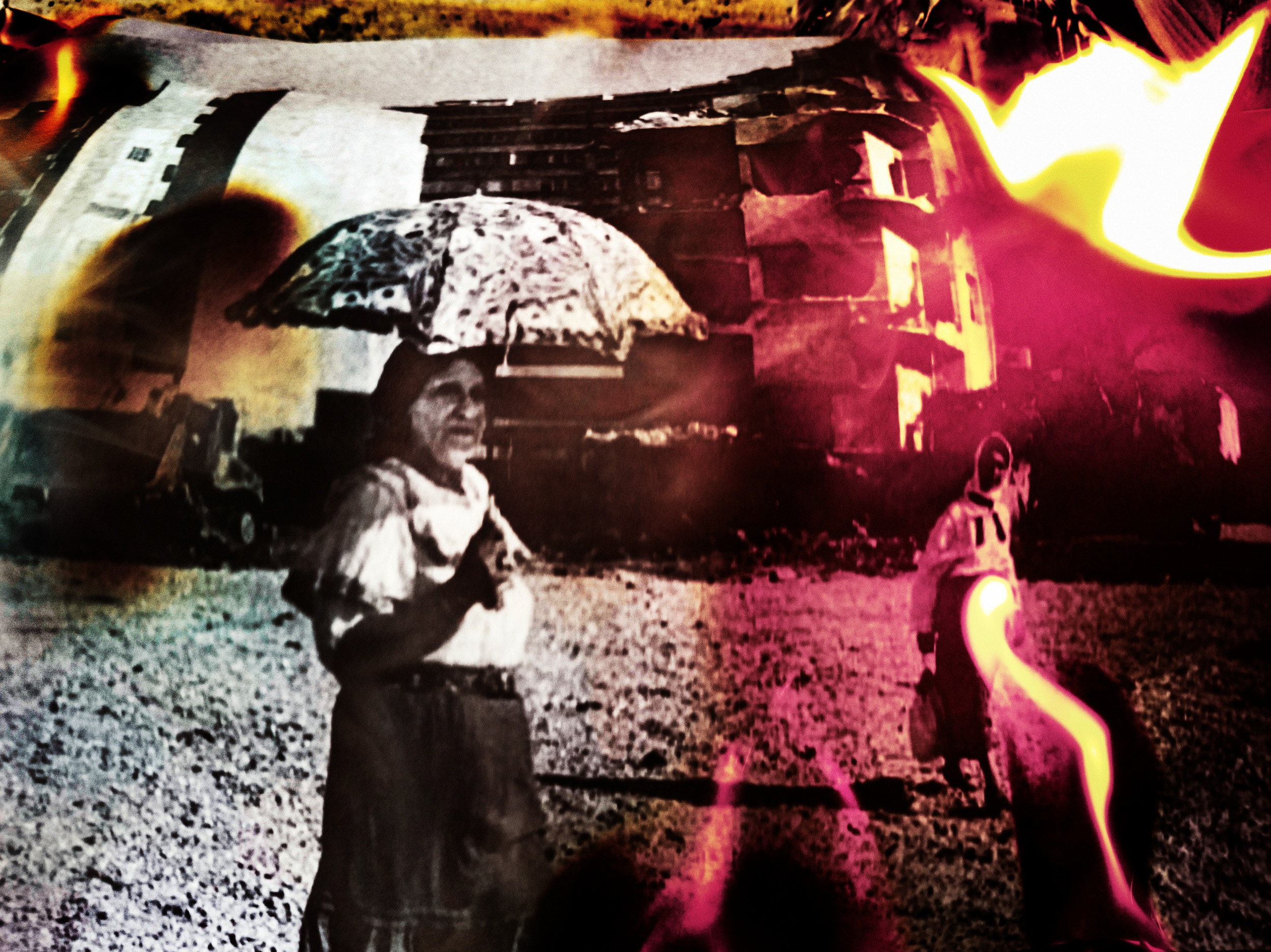 """Beirut image on fire VI. The original burning image was published in the book """"Beirut Mutations"""", page 116.  Zeitouni district, previously known as the red-light district, located at the proximity of Beirut port entrance, 1995."""
