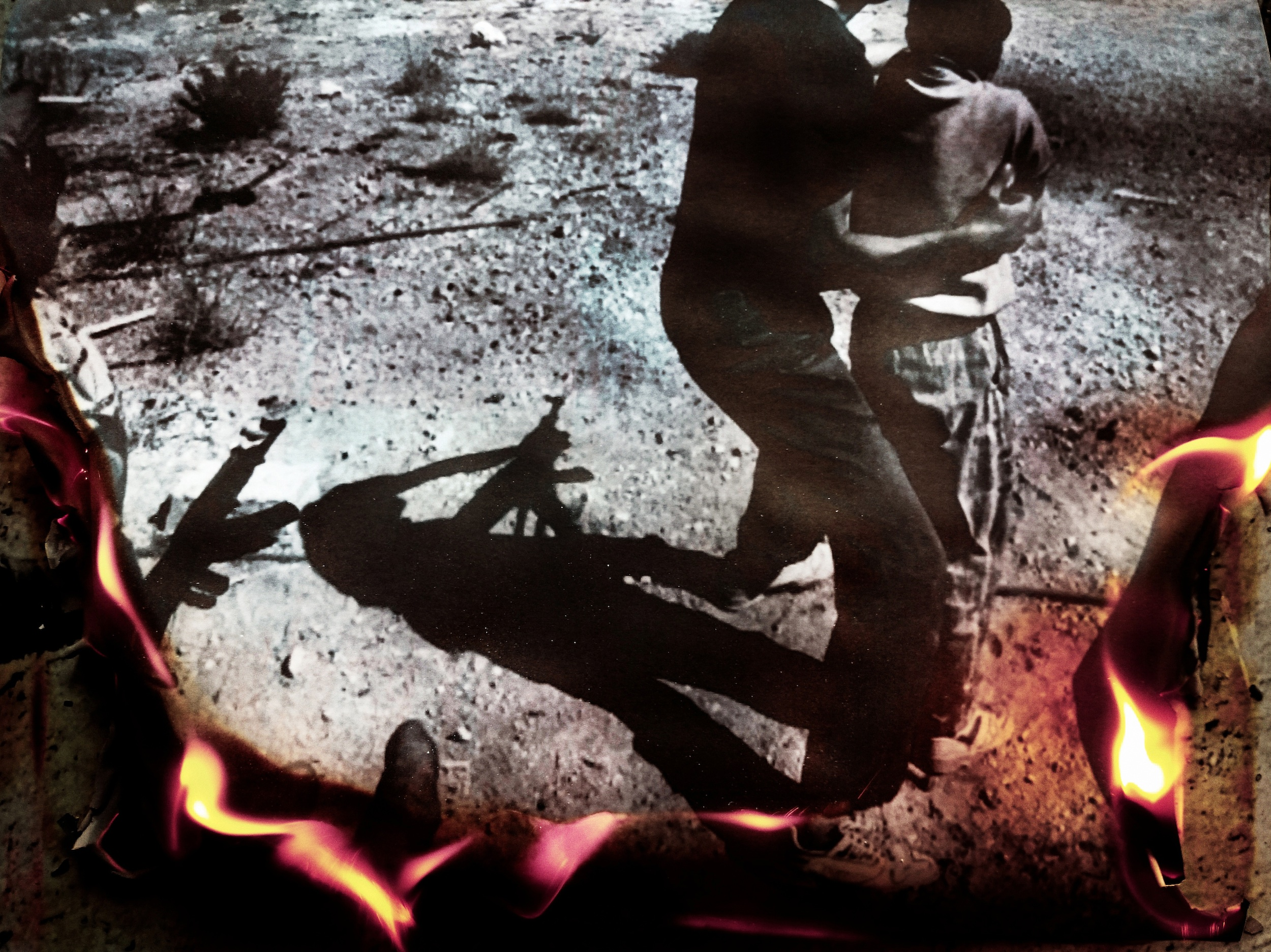 Beirut image on fire II. The original burning image was published in the book War Children, Lebanon 1985-1992, page 51. Shooting practice at the Syrian Nationalist Party's Lion Cubs training camp in Mount Lebanon, 1989.
