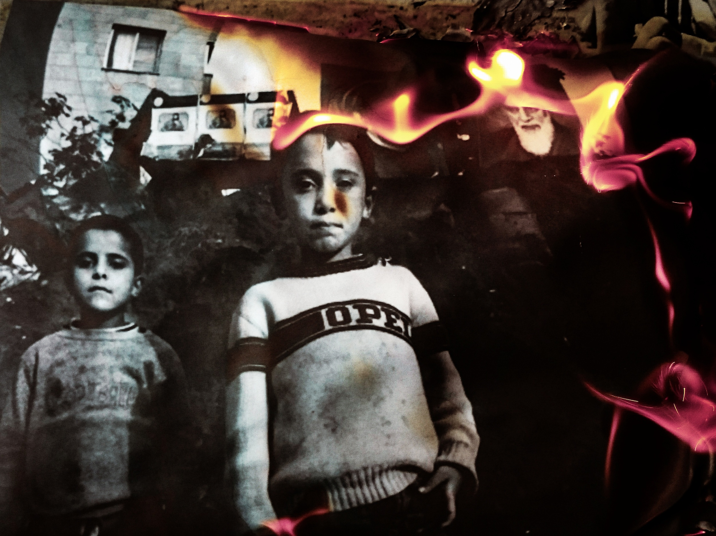 Beirut image on fire IV. The original burning image was published in the book War Children, Lebanon 1985-1992, page 57. Living on the demarcation line in downtown Beirut, Lebanon, 1988.