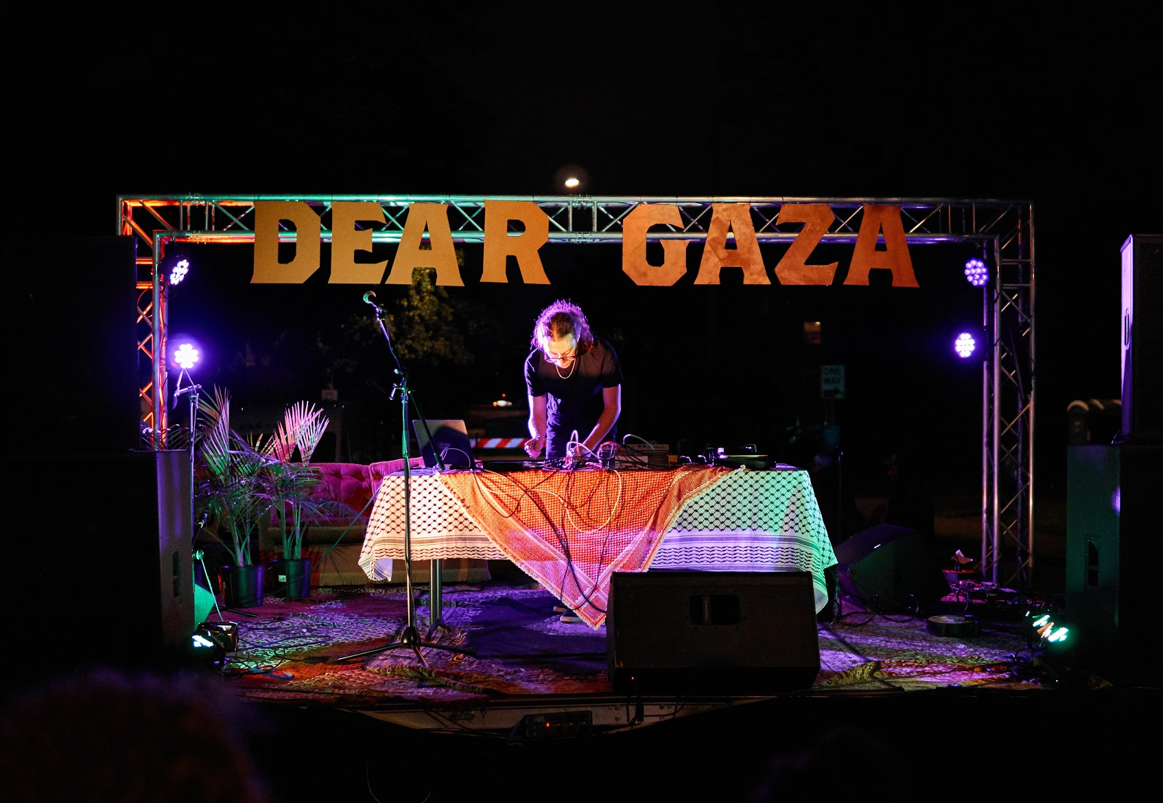 Documentation of the 2019 Dear Gaza Block Party in Minneapolis, MI. Image features performer Hello Psychaleppo.