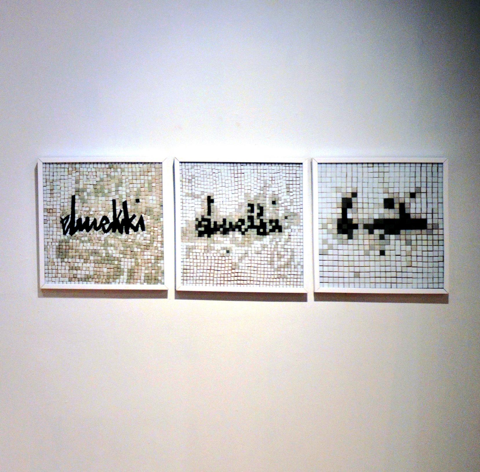 Contre l'Oubli (Hommage à El Mekki), 2019, mosaïc, 50 x 150 cm