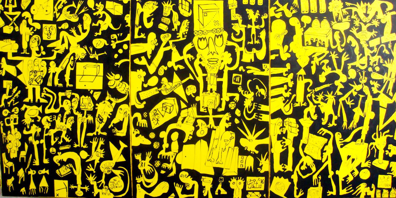 Epidemic, 2014, acrylic on canvas, 120 x 300 cm