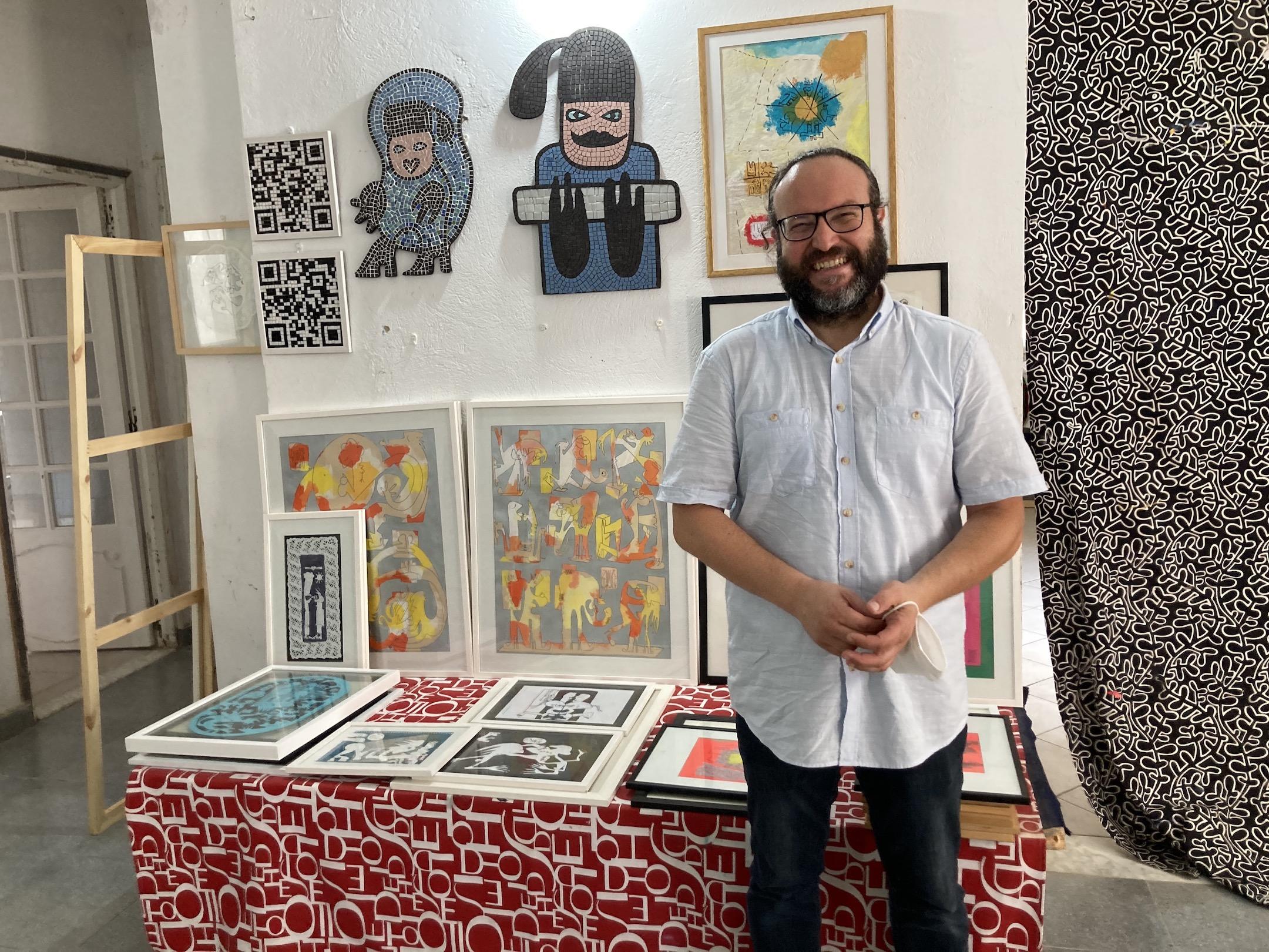 Mohamed Ben Soltane in his studio in Tunisia, Summer 2021