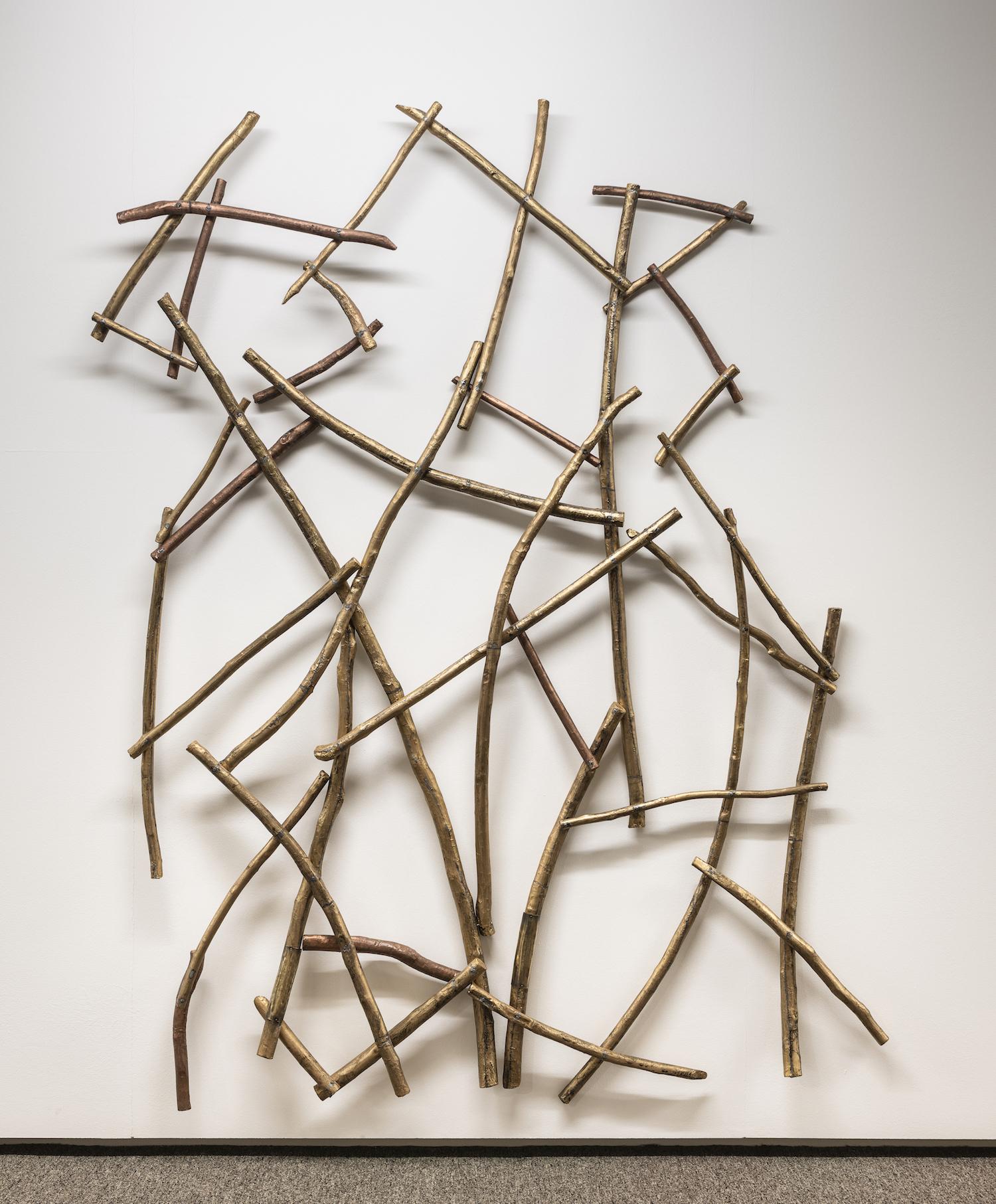 Joute poétique#2, 2018, Found wood, assemblé, leather et ciselure on copper, 200 x 140 cm