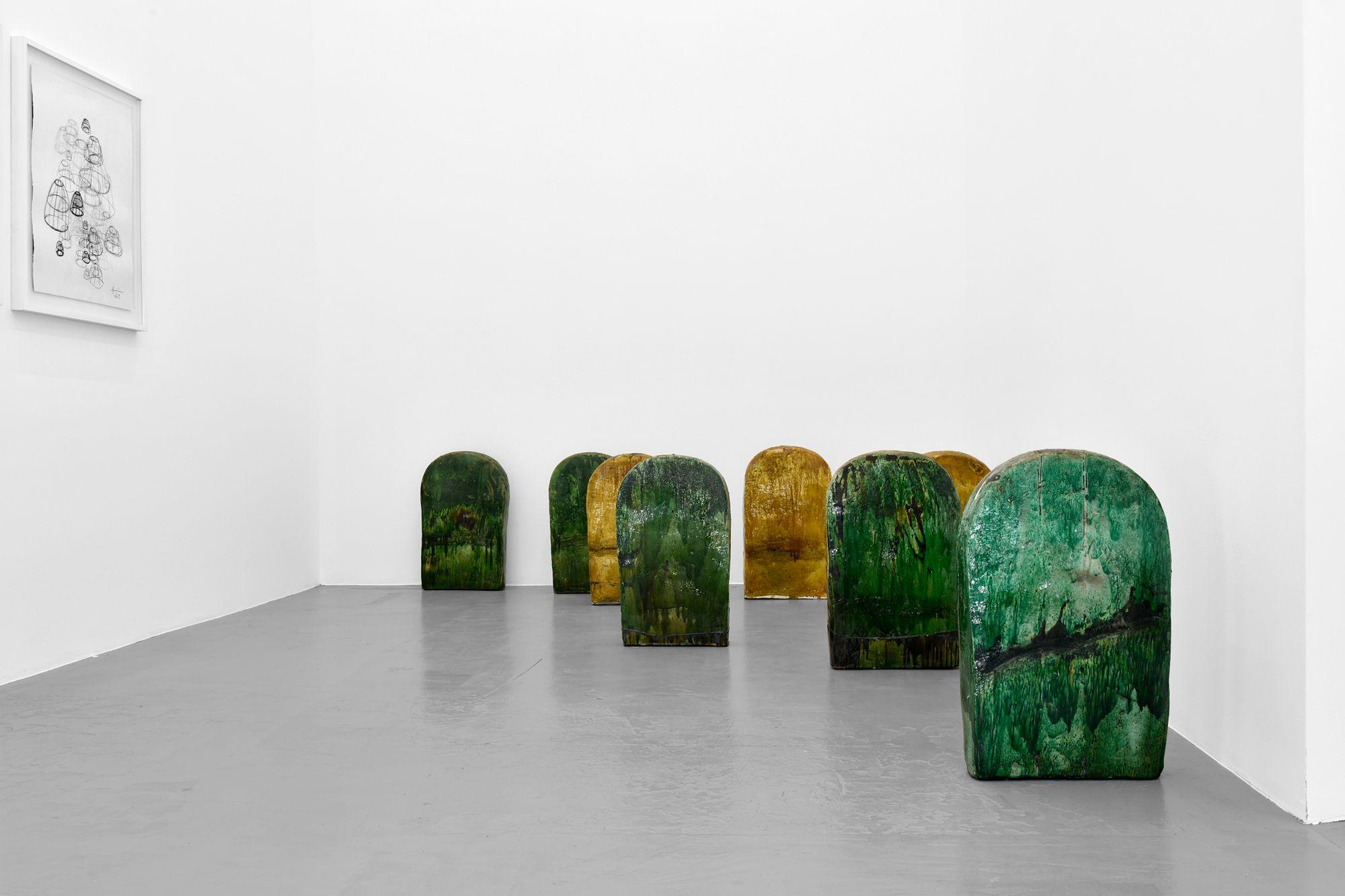 Terre Verte (8 pieces), 2020, Tamegroute ceramics, 70 x 40 x 10 cm