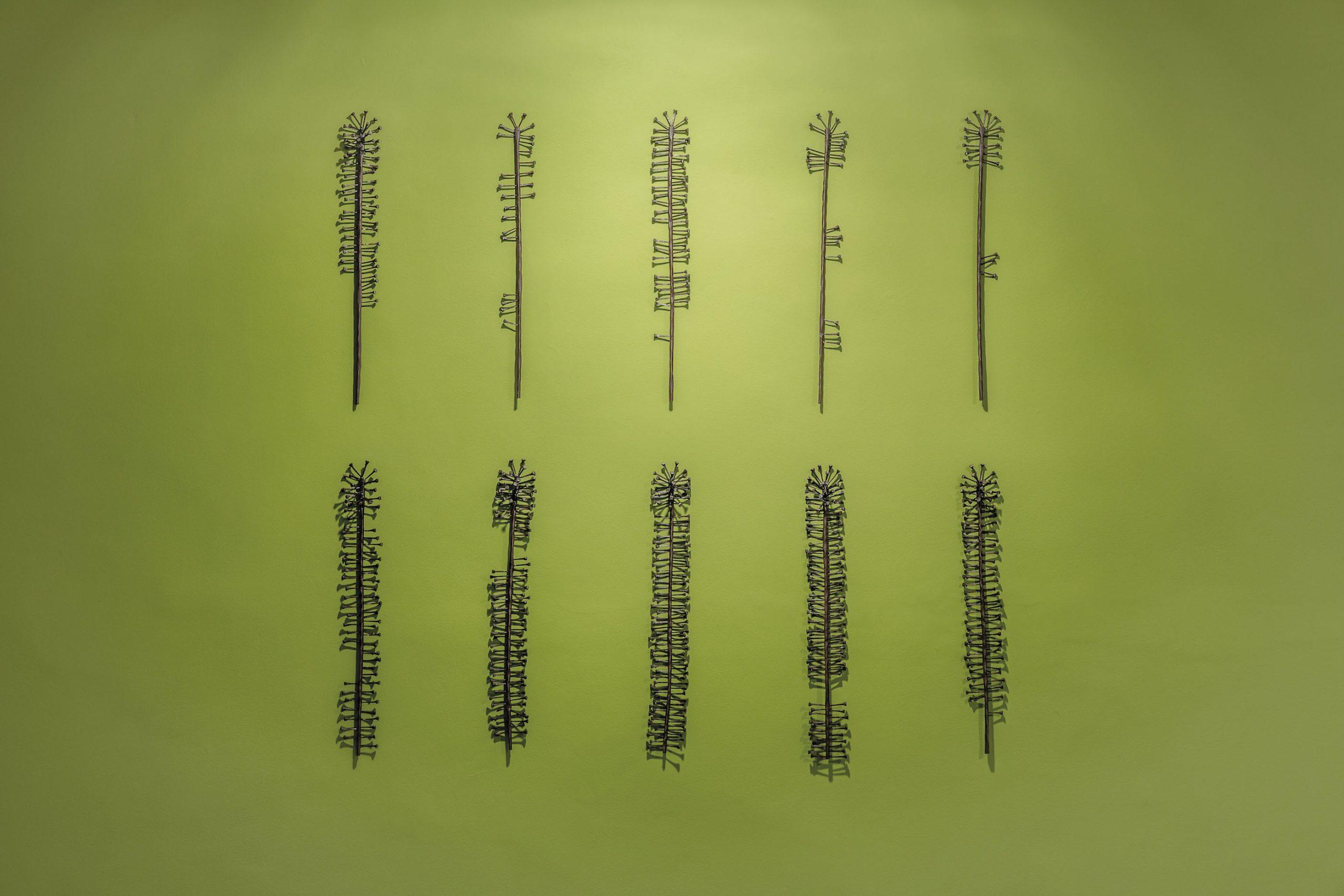 Le jardin des harratine, 2018, Hammered nails and metal, 152 x 152 cm